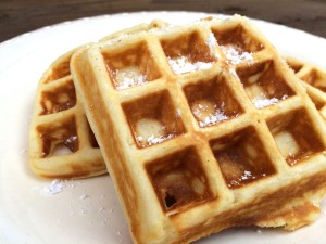 two waffles on a plate