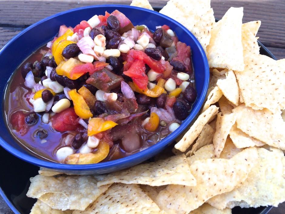 a bowl Black bean and corn salsa