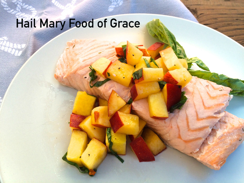 Poached salmon with nectarines and basil