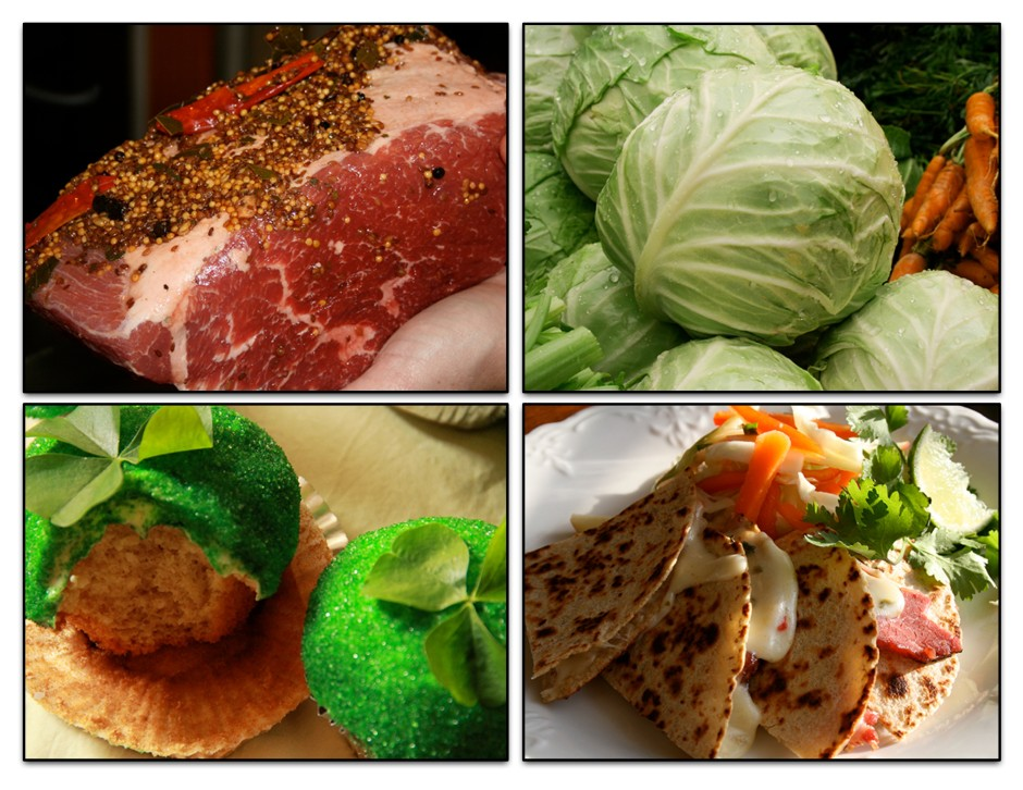 a collage of raw meat, cabbage, cupcake, and tortillas
