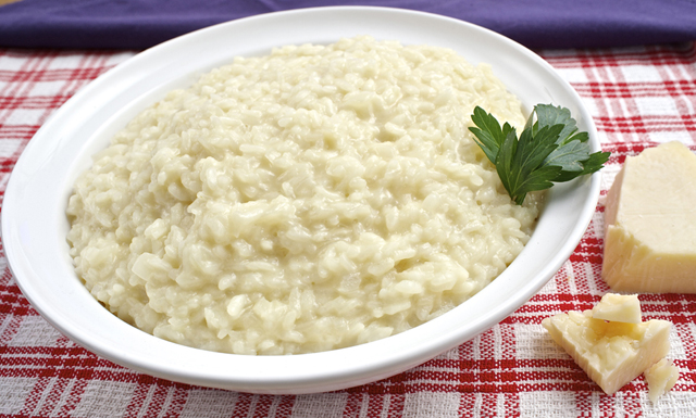 a bowl of three cheese risotto