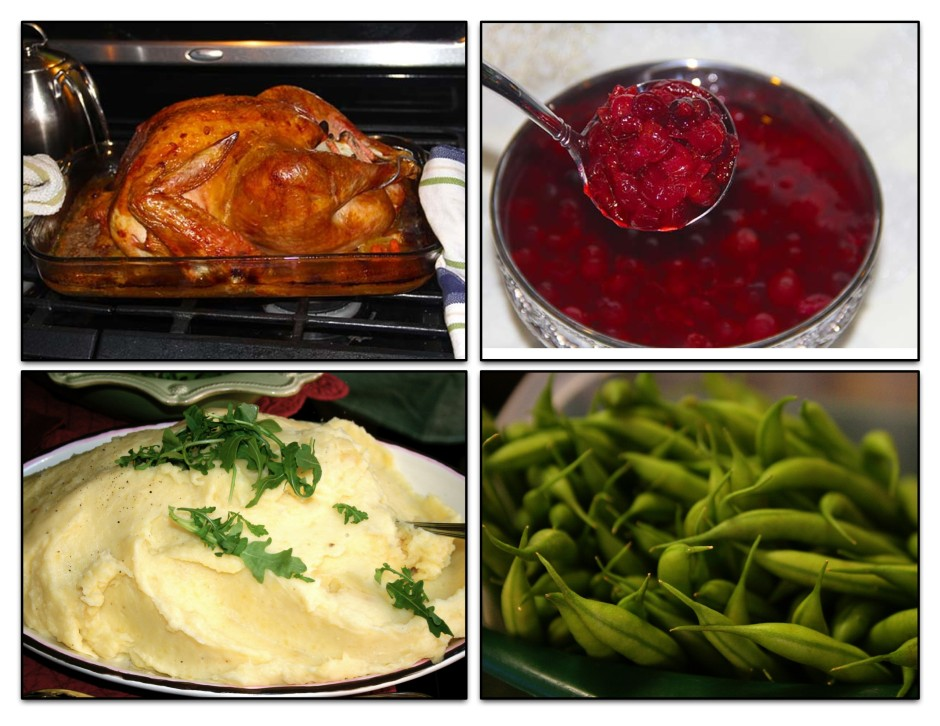 a collage of a cooked turkey, cranberry sauce, mashed potatoes, and peas