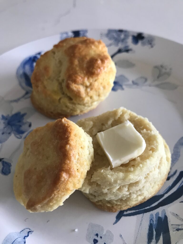 biscuits with butter on a plate