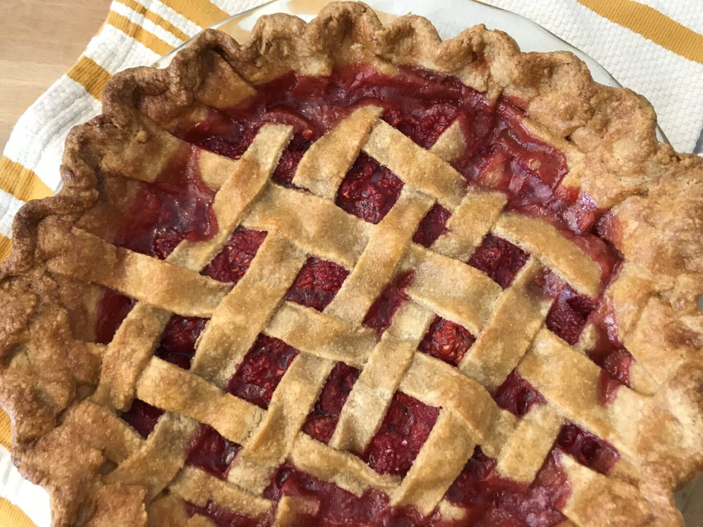 a pie with berry filling