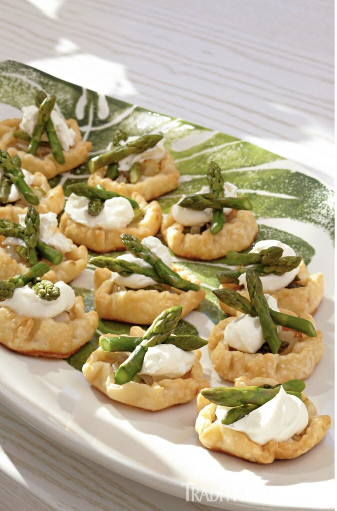 Asparagus and Goat Cheese Mousse Mini Galettes